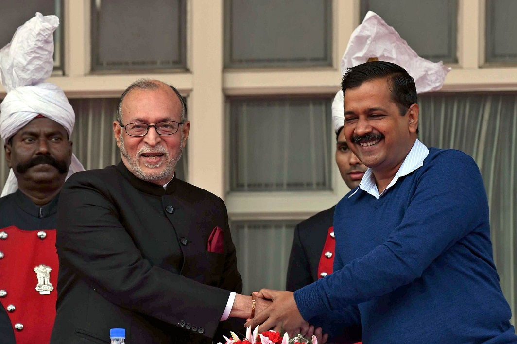 Delhi Chief Minister Arvind Kejriwal greets Anil Baijal after sworn in as Lt. Governor of Delhi at Raj Bhawan in New Delhi (file picture). Photo: UNI