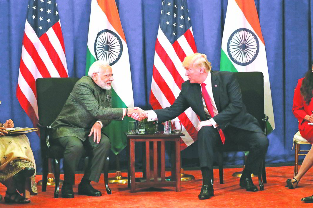 President Donald Trump with PM Modi at a bilateral meeting alongside the Manila summit. Photo: UNI
