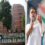 (L-R) Election Commmission of India headquarters in New Delhi. Photo: Anil Shakya; and Congress Vice President Rahul Gandhi addressing an election rally at Kosamba Village Ground, in Valsad district. Photo: UNI