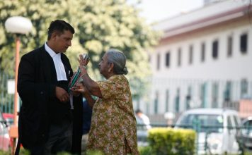 A lawyer with a litigant at Supreme Court (representative image). Photo: Anil Shakya