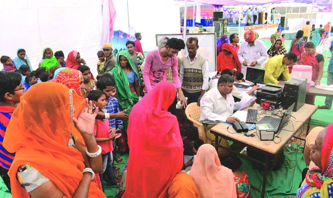 Residents line up at an Aadhaar Card Camp in Swaroopganj, Rajasthan. Photo: UNI