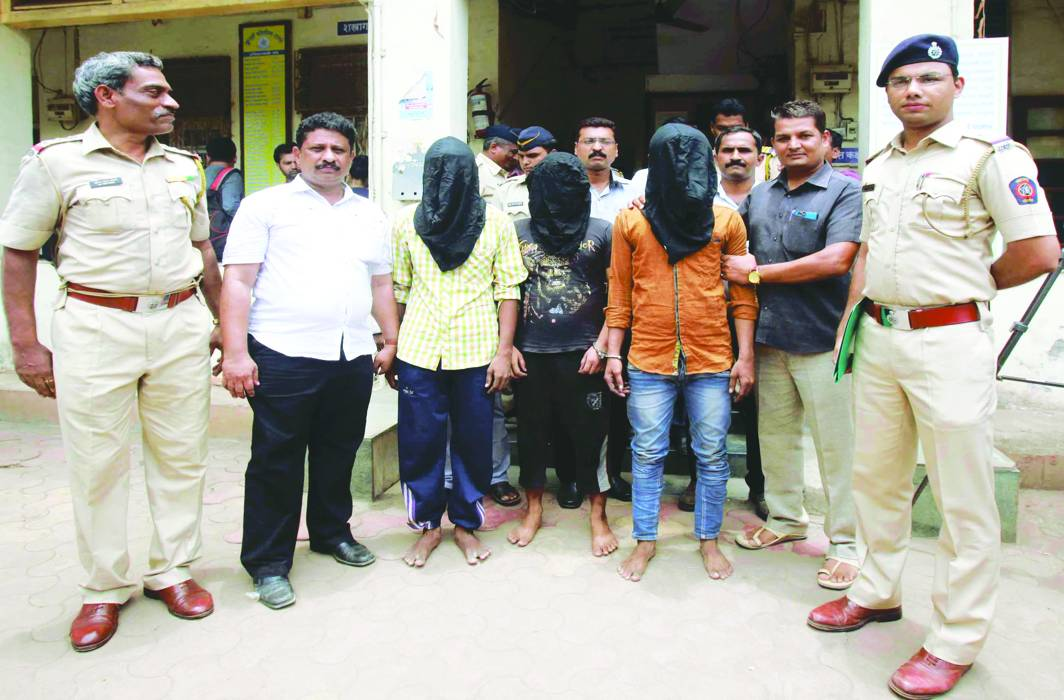Three accused being arrested by the police for raping a minor girl in Mumbai. Photo: UNI