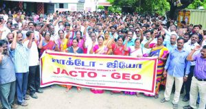 Members of the Joint Action Committee of Teachers Organisations and Government Employees Organisations protest in Chennai. Photo: UNI