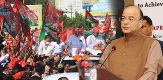 (L-R) Former UP CM Akhilesh Yadav at a road show; Finance Minister Arun Jaitley