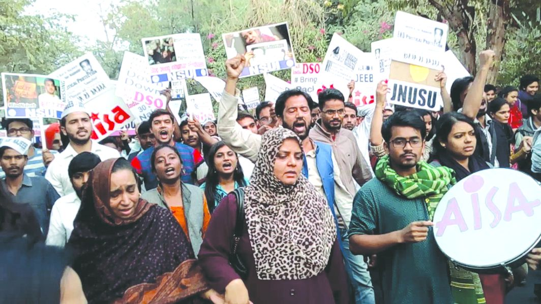 JNU students and family members of Najeeb Ahmed hit the streets. Photo: youtube