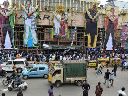 Huge cutouts of Rajinikanth outside a cinema theatre in Bengaluru/Photo: mashable.com