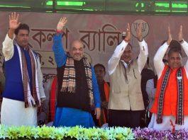 BJP president Amit Shah leads a public meeting at Ambasa, 70 km east of Agartala/Photo: UNI