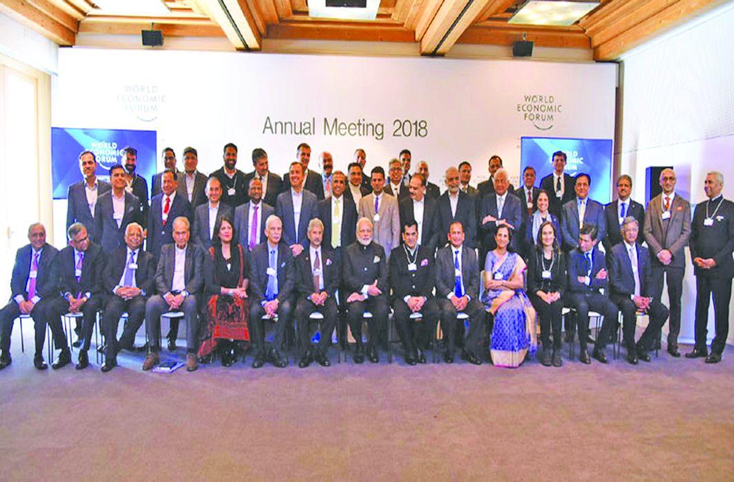 Nirav Modi in a photo with PM Modi at Davos. Photo: UNI
