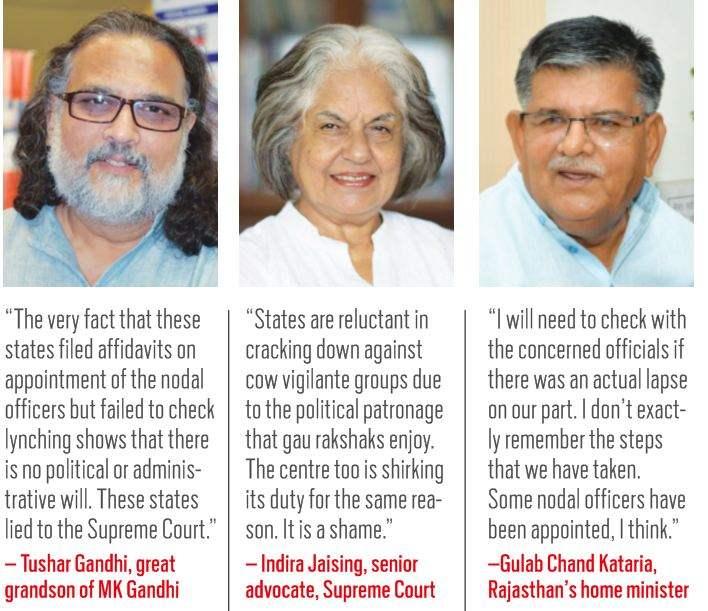 (L-R) Tushar Gandhi, great grandson of M K Gandhi; Indira Jaising, Senior Advocate; Gulab Chand kataria, Rajasthan's home minister