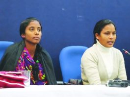 Suneeta and Munni Pottam address a press conference in New Delhi. Photo: YouTube