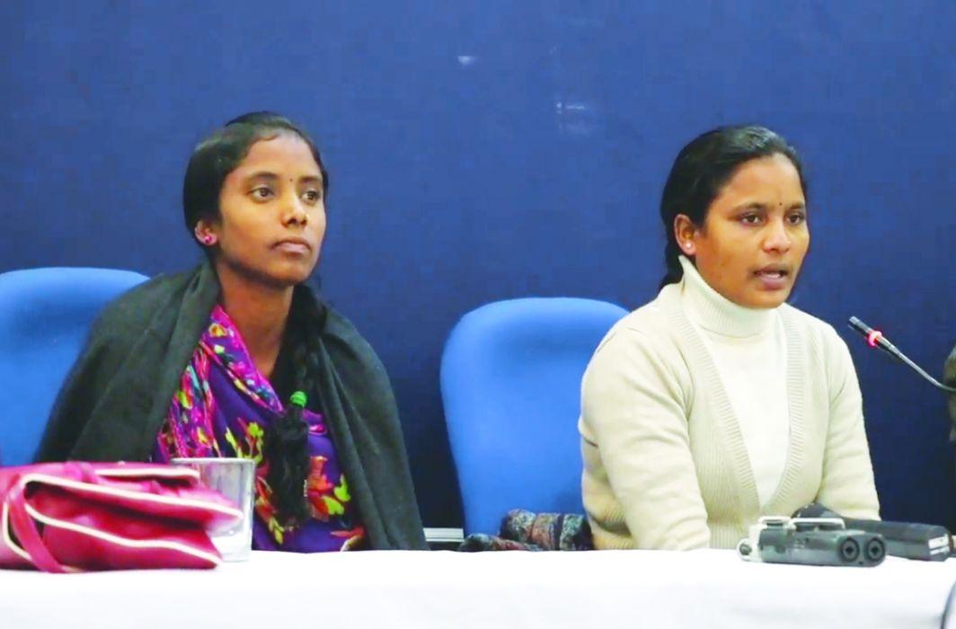 Suneeta and Munni Pottam address a press conference in New Delhi. Photo: YouTube