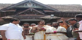 Former India pacer S Sreesanth seen coming out of the Sree Padmanabha Swamy temple in Kerala (file picture)/Photo: UNI