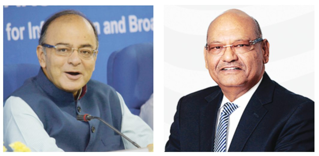 Finance Minister Arun Jaitley and (right) Anil Agarwal of Vedanta