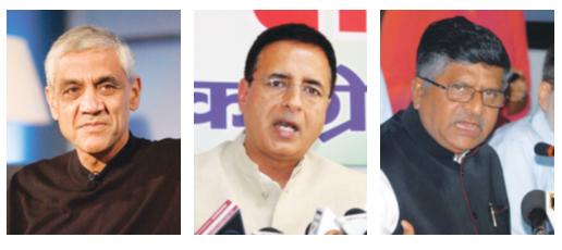 The key players (From left) Vinod Khosla, Randeep Surjewala and Ravi Shankar Prasad