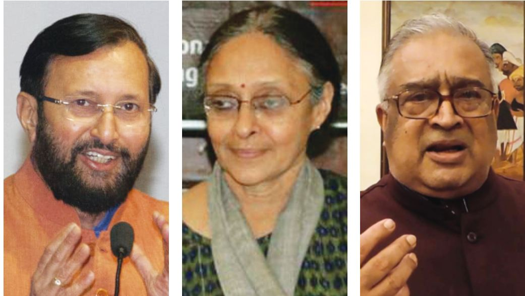 (Left to right) HRD minister Prakash Javadekar, former SCERT director Prof. Janaki Rajan, (the late) TRS Subramaniam who headed the panel on education policy
