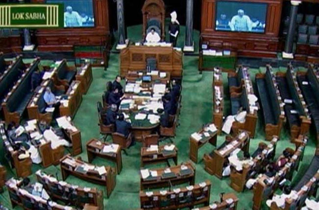 A TV grab of the Lok Sabha