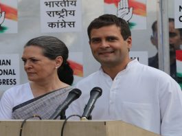 Congress President Rahul Gandhi with ex-President Sonia Gandhi addressing the media. Photo: UNI