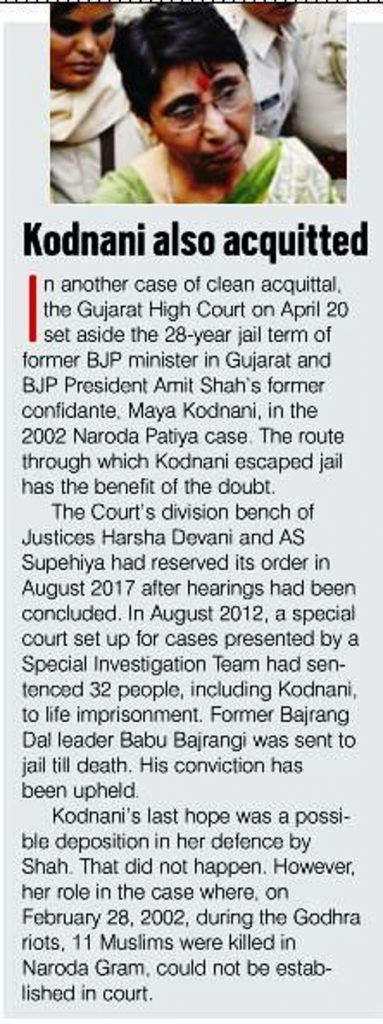 Kodnani also acquitted