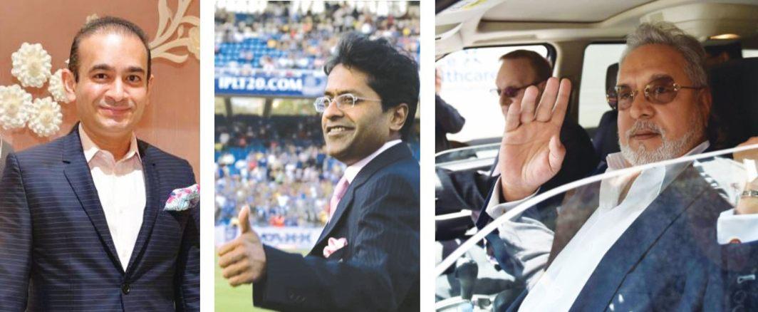 (L-R) Nirav Modi, Lalit Modi and Vijay Mallya