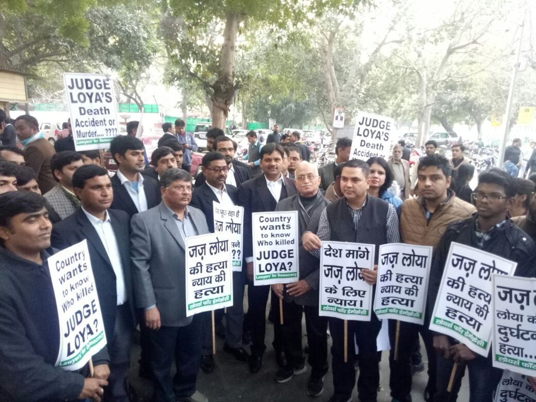 Lawyers demanding a probe into Judge Loya's death in New Delhi