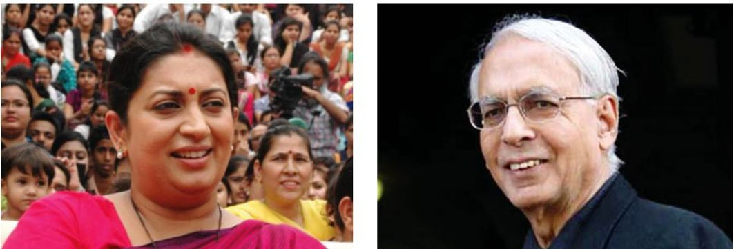 (L-R) Union Information and Broadcasting minister Smriti Irani; Vidya Charan Shukla, who was the information minister under Indira Gandhi during the Emergency. Their attempts to gag the media backfired/Photos Courtesy: UNI, Wikipedia