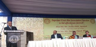Justice R K Agrawal speaking on the farewell ceremony organized by SCBA in Supreme Court on May 4/Photo: Anil Shakya