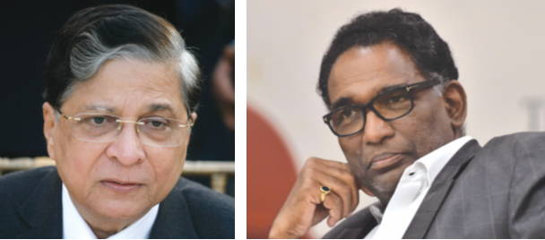The challenge to the Rajya Sabha Chair's dismissal of the impeachment motion against CJI Dipak Misra (left) first came up for hearing before Justice Jasti Chelameswar