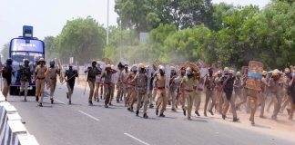 Police resorted to lathi-charge during a massive protest against Sterlite factory, in Thoothukkudi on May 22/Photo: UNI