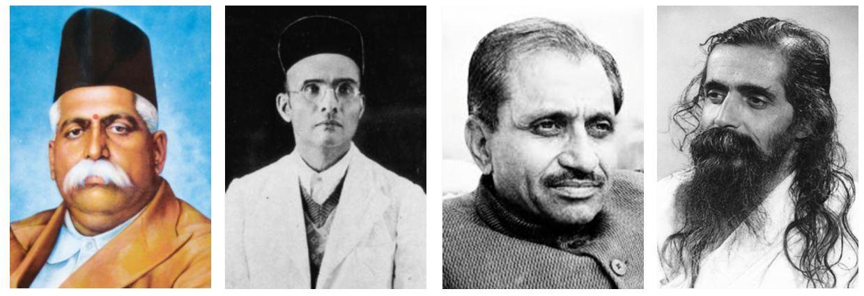 (L-R) Keshav Baliram Hedgewar, VD Savarkar, Deendayal Upadhyaya and MS Golwalkar all believed in Hindi Raj and a unified resurgent Aryavart