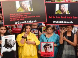 Citizens in Mumbai demand arrest of the killers of journalist Gauri Lankesh who was shot outside her home in Bengaluru