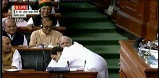 Rahul hugs Modi after slamming govt during the no confidence motion