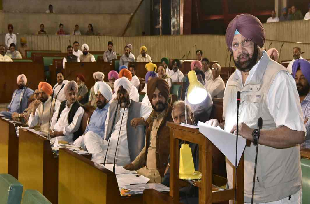 Chief Minister Capt Amarinder Singh with his colleagues in the Punjab Vidhan Sabha