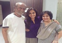 Filmstar Rajinikanth with daughter Soundarya and wife Latha/Photo: Twitter