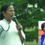 Mamata Banerjee addressing a rally today; (inset) Chandan Mitra