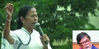 Mamata Banerjee addressing a rally today; (inset) Chandan Mitra