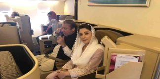 Nawaz Sharif and Maryam on an Etihad Airways flight on the way to Lahore/Photo: Twitter