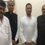Retired judge Justice Abhay Thipsay (extreme right) with Rahul Gandhi and other Congress leaders/Photo: Twitter