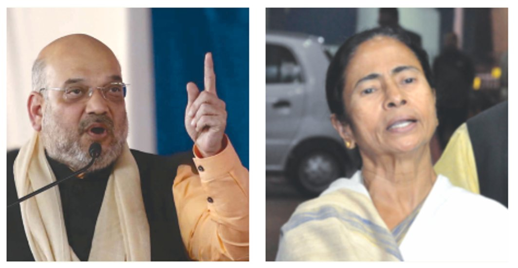 (L-R) BJP president Amit Shah and West Bengal CM Mamata Banerjee