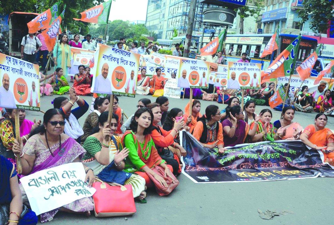 A BJP Mahila Morcha rally in Kolkata demanding the NRC exercise in West Bengal. Photo: UNI