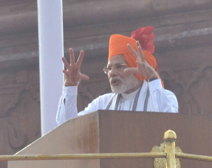"PM Narendra Modi in his Independence Day speech took credit for trying to end triple talaq and blamed ""some people"" for stalling it/Photo: UNI"