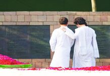 Rahul Gandhi and Priyanka at their father's memorial. Both have forgiven his killers/Photo: UNI