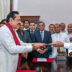 Maithripala Sirisena (right) appoints Mahinda Rajapaksa as prime minister at a function in Colombo/Picture: Twitter