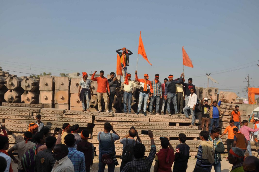 """People at a """"Dharma Sabha"""" organised by the VHP in Ayodhya for the Ram temple/Photo: UNI"""