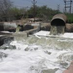 Poorly treated wastewater being released into the Ganges