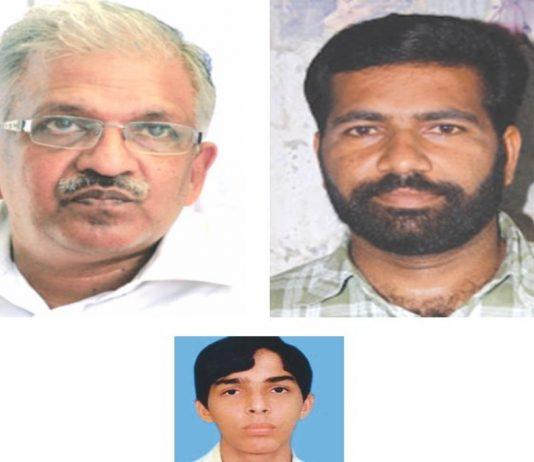 (Clockwise from above) Ariyil Abdul Shukoor; CPI(M) district secretary P Jayarajan and Kalliasseri MLA TV Rajesh. The CBI has filed an additional charge sheet against Rajesh and Jayarajan in the Shukoor murder case