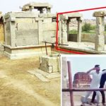 (Inset) The four men vandalised the pillars (marked in red) that stood at Hampi in 2017