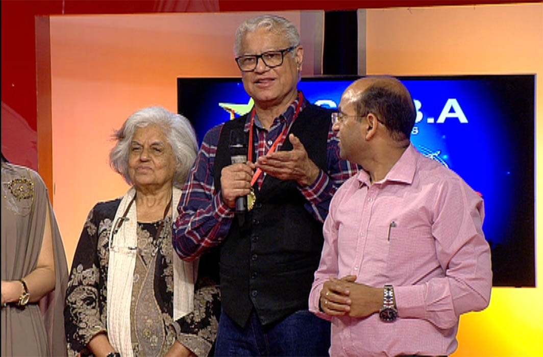 Indira Jaising along with her husband and special guest senior advocate Anand Grover (centre) at the semi-final event