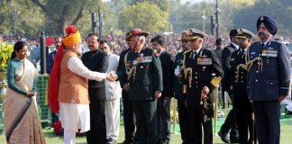 PM Narendra Modi greeting the three service chiefs at the 2019 Republic Day celebrations at Rajpath/Photo: PIB