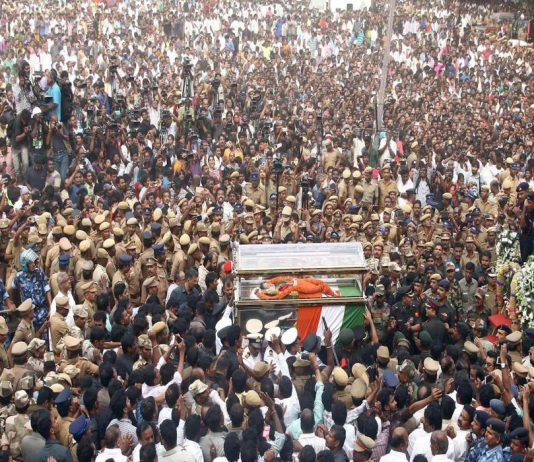 The time of death of former Tamil Nadu CM J Jayalalithaa remains speculative. The funeral procession of J Jayalalithaa/Photo: UNI