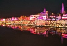 The banks of the Saryu lit up with lakhs of diyas to celebrate Diwali in October 2017/Photo: UNI